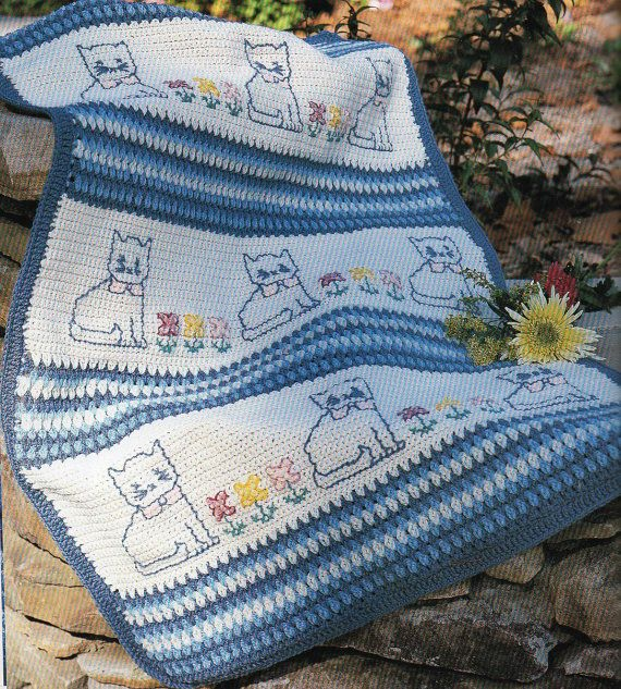 Kitty Cat Afghan Crochet Pattern Cat and Flowers Blanket