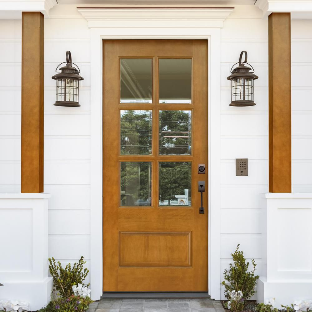 Steves Sons 36 In X 80 In Savannah Left Hand 6 Lite Clear Stained Mahogany Wood Prehung Front Door M6410 06 Ct 4ilh Living Room In 2019 Wood Exterior Door Wood Front Doors Exterior Doors