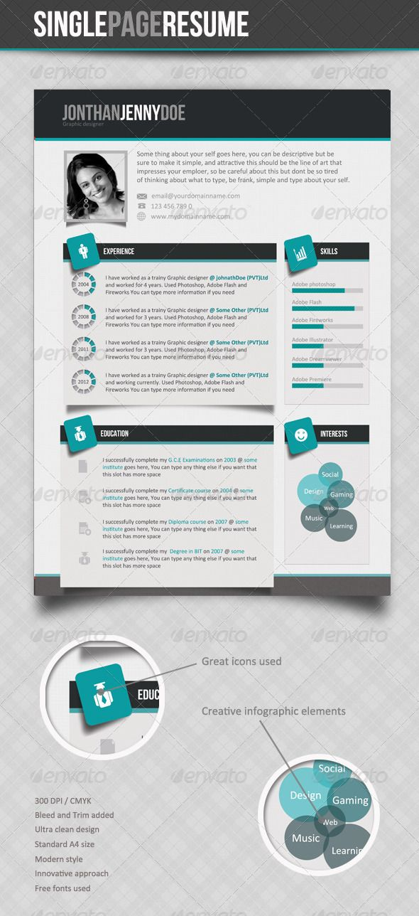 Clean Single page Resume Glyph icon, Print templates and Fonts - single page resume