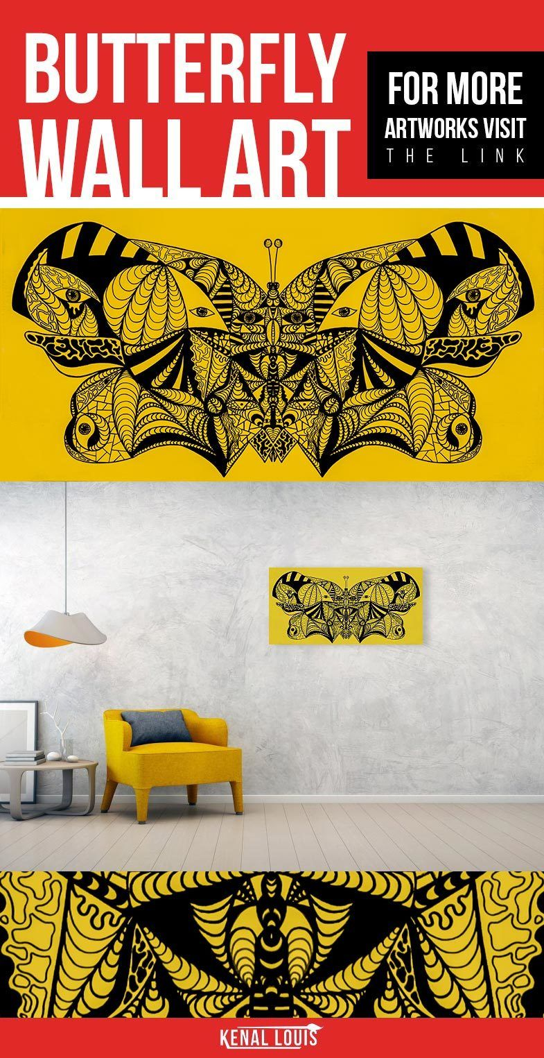 Butterfly Wall Art | Red Abstract Butterfly Art Collection | Wall ...