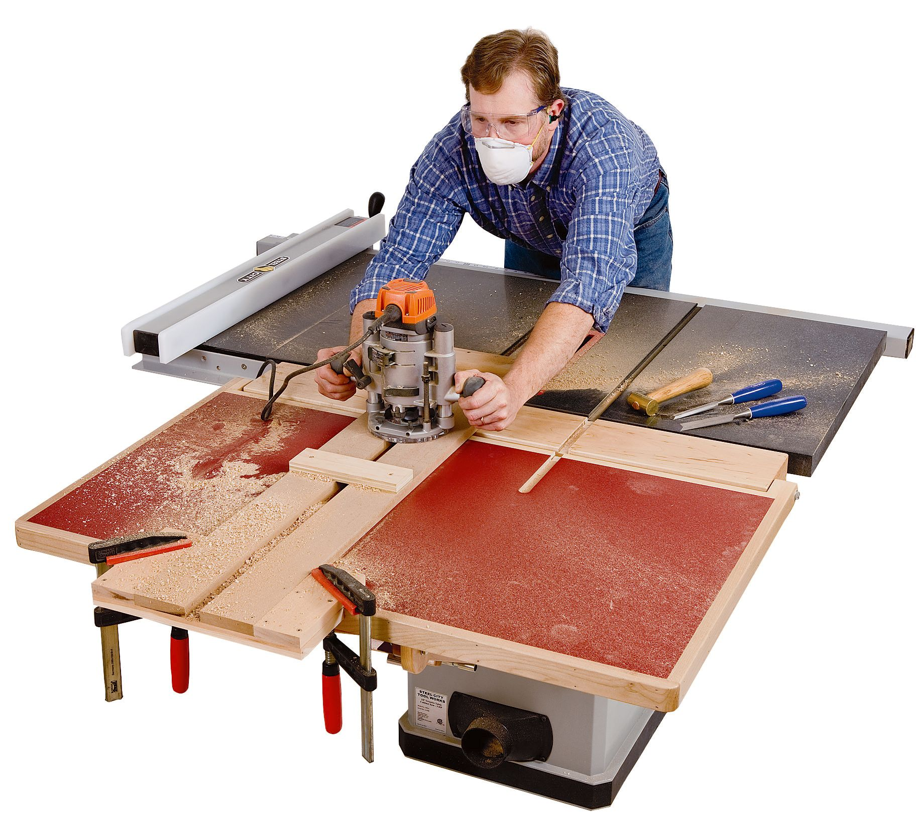 Build a folding outfeed table to mount on your table saw for How to make a router table stand