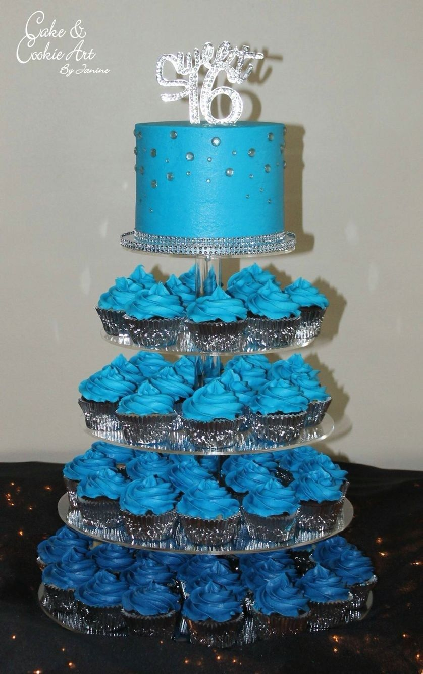 Sweet 16Th Birthday Cakes Blue Cake And Cupcake Tower Ombr Blue Sweet 16 Sweet Sixteen #sweet16centerpieces