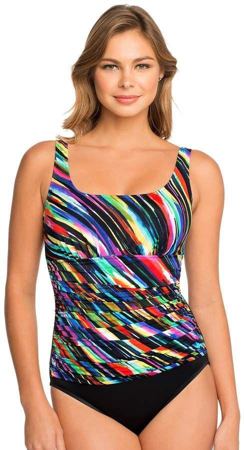 22f7f41c40 Women's Croft & Barrow® Waist Minimizer Striped One-Piece Swimsuit ...