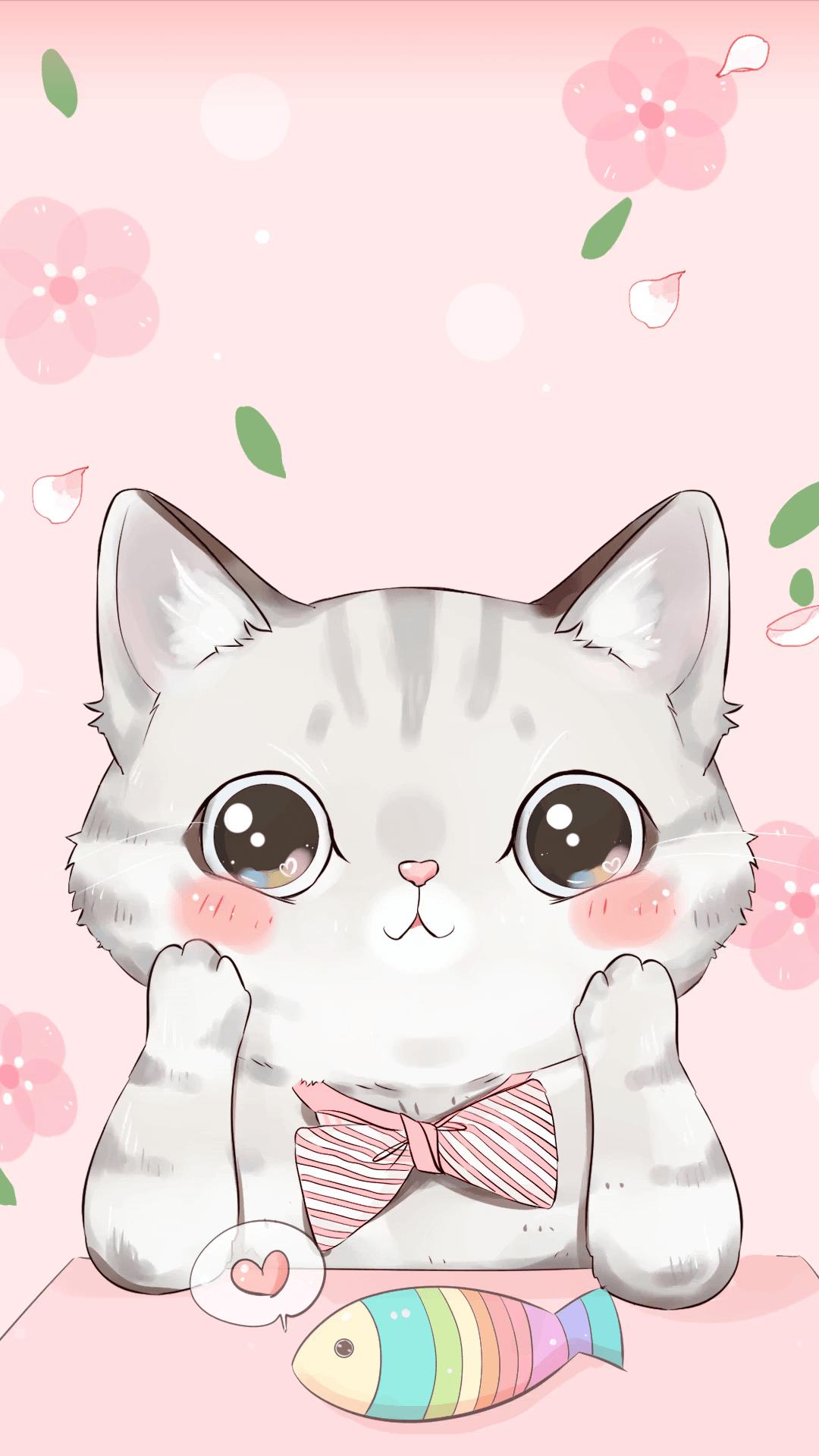 50+ Cartoon Pink Cats Wallpapers Download at