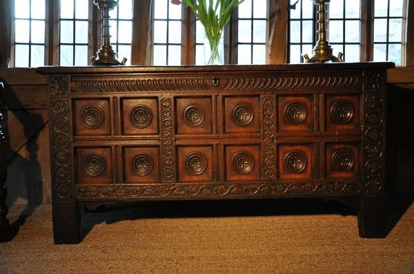 "Unusual oak chest Yorkshire Ca1650 England. 31""H x 61""W x 23.5""D."