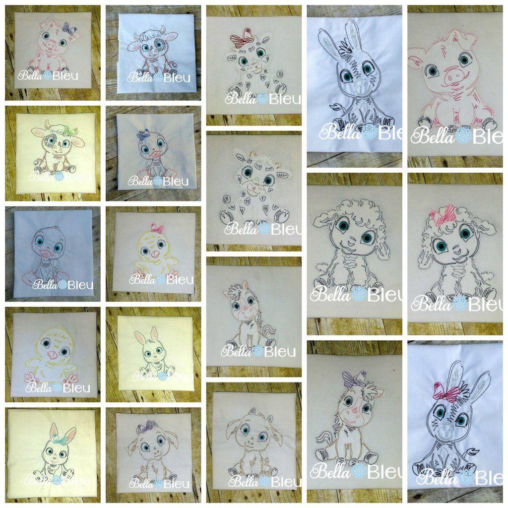 4x4 Colorwork Farm Animals Set donkey sheep goat Baby