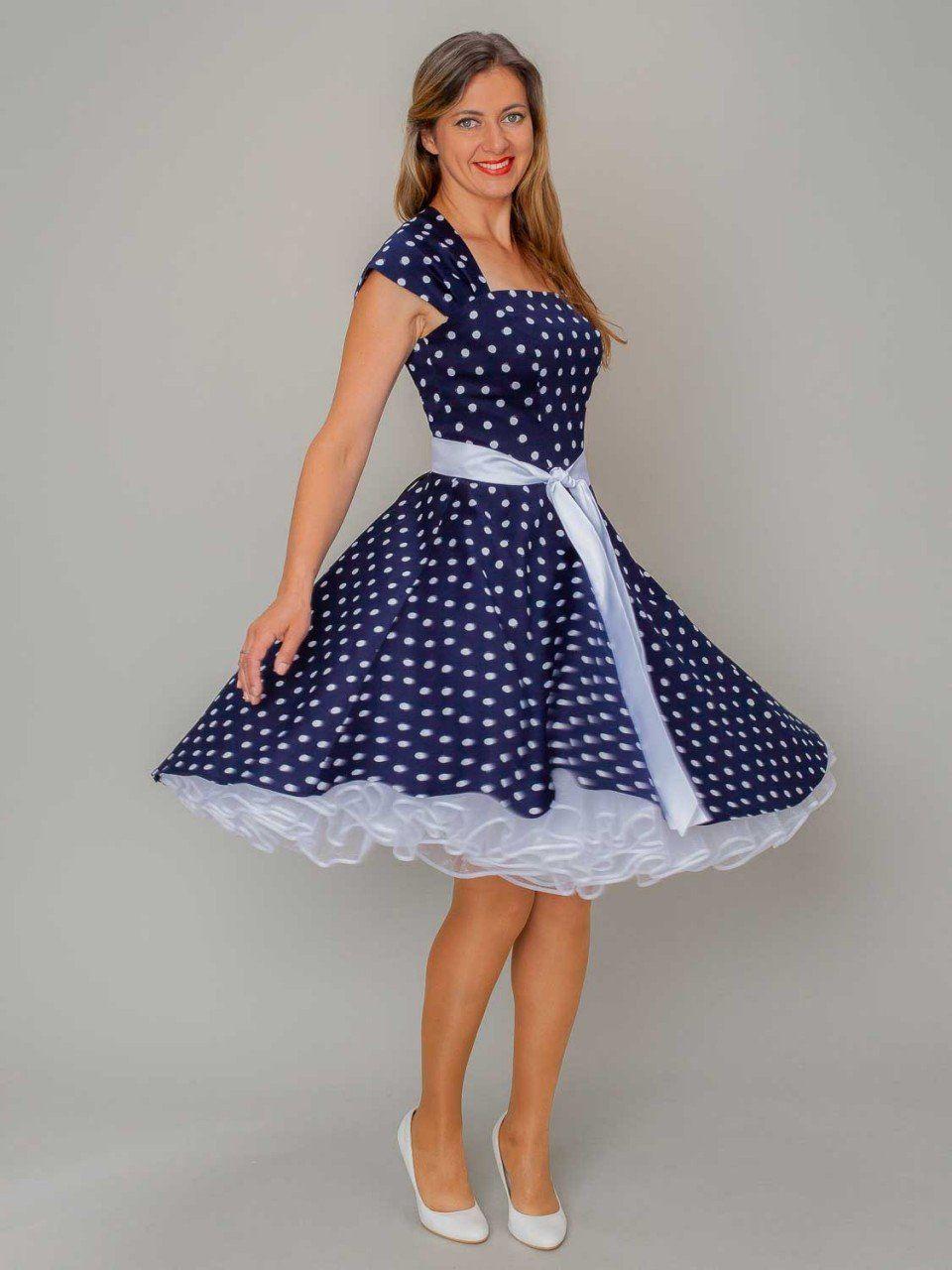 Rockabilly Petticoat Kleid Punkte dunkel-blau weiss SETRINO
