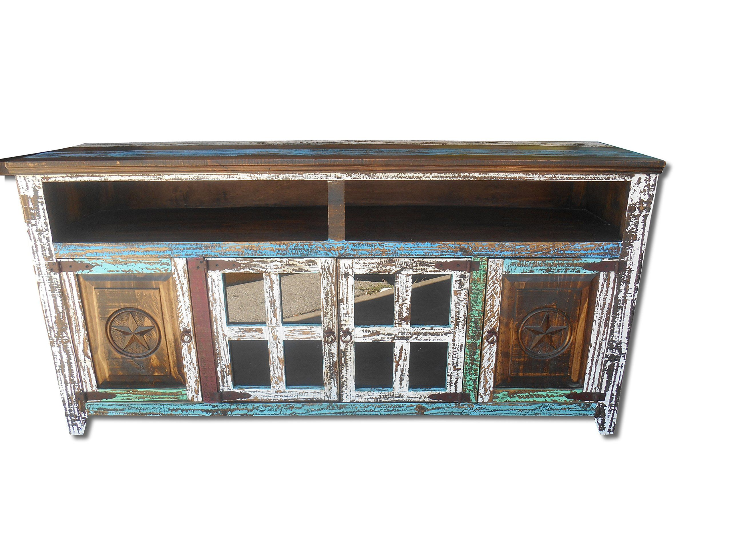 60 Inch Rustic Western Multi Color Antique Distressed Reclaimed Wood Look  TV Stand Solid Wood Already
