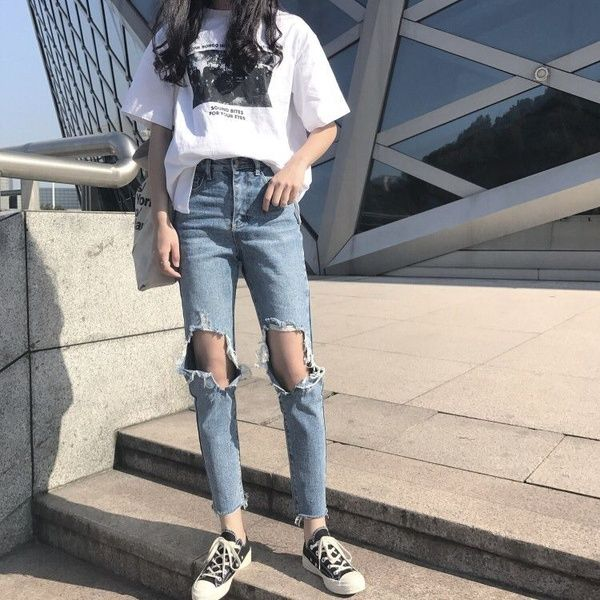 Photo of Korean Knee Big Hole Straight Jeans Casual Nine Point Pants Female High Waist Ulzzang Rock Jeans | Wish