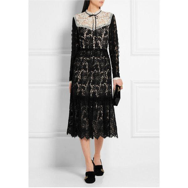 Erdem Georgie guipure and corded lace dress ($4,100) ❤ liked on Polyvore featuring dresses, victorian dress, black cocktail dresses, lace dress, loose dress and black lace dress