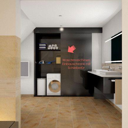 waschmaschinen-einbauschrank-mit-schiebetuer | bad und waschküche, Badezimmer