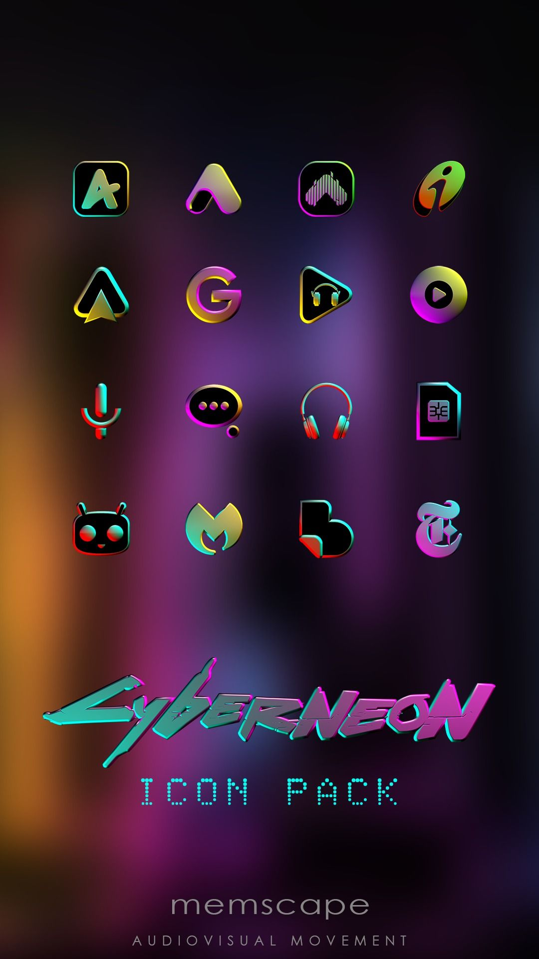 Cyberneon Icon Pack For Android Devices Icon Pack Android Android App Icon Android Icon Pack