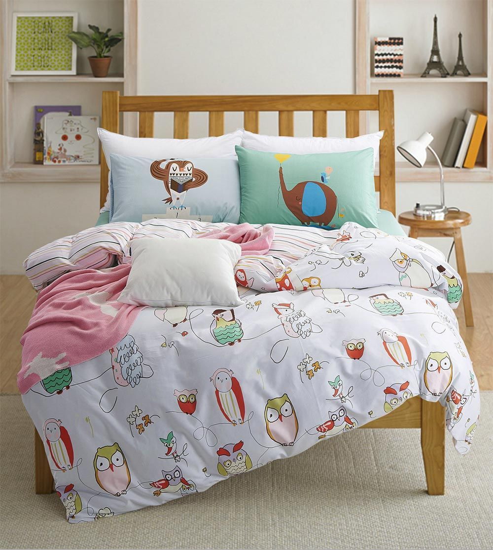 Cartoon Owl Single Double Bed Sets Kids Children Twin Full Queen