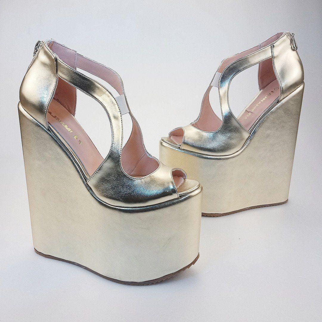 21 cm golden platform heel wedge shoes heels wedge