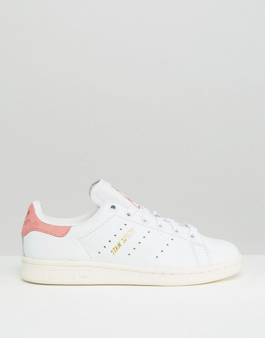new styles 72084 25789 Pink  adidas Originals White And Pink Stan Smith Trainers at ASOS