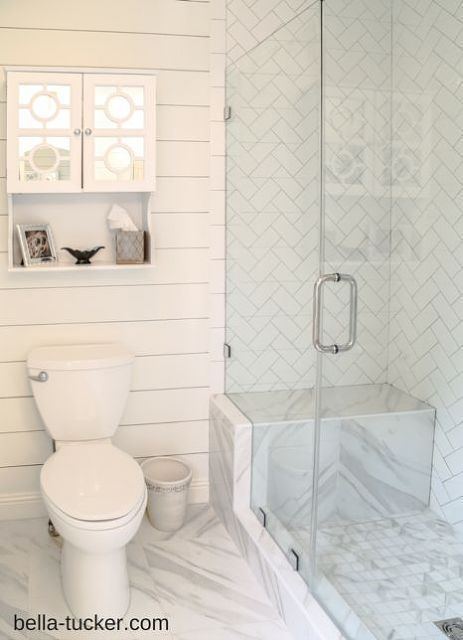 Budget Bathroom Remodel, Bathroom Ideas, Home Improvement Shabby Chic,  Marble, Boards, Harringbone