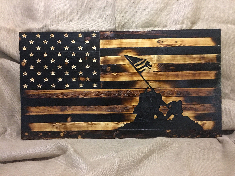 Iwo Jima Rustic Wooden Flag Housewares Homedecor Iwojima Rustic Flag Military Walldecor Wooden W American Flag Wood Wood Flag Diy Wooden American Flag