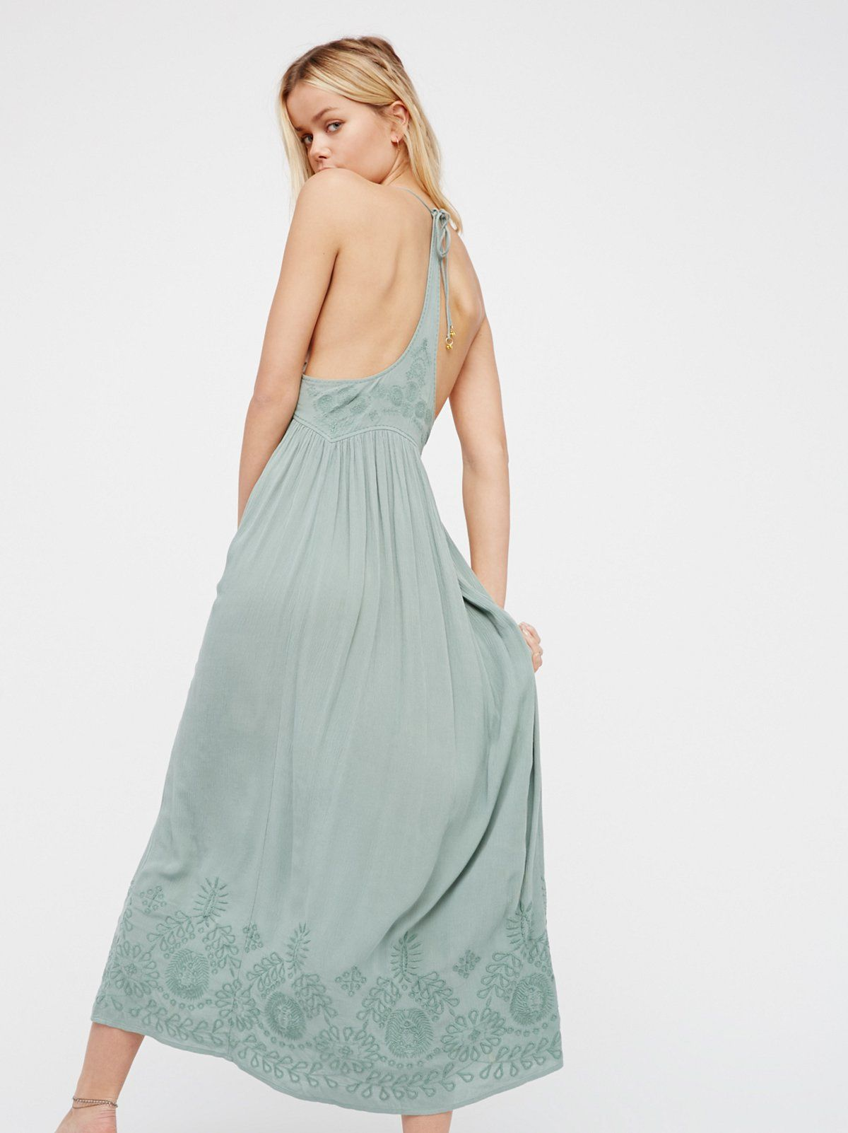 Embroidered Elaine Maxi Slip | Embroidered maxi slip dress with ...
