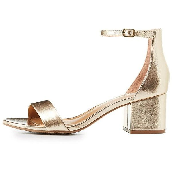 80875389ded Charlotte Russe Metallic Two-Piece Sandals ( 25) ❤ liked on Polyvore  featuring shoes