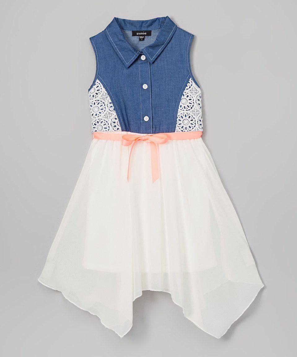 7bff261307 Loving this Zunie Denim   Ivory Button-Front Handkerchief Dress - Girls on   zulily!  zulilyfinds