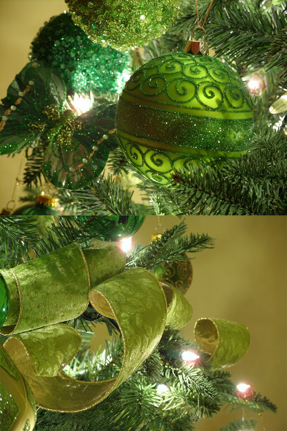 Elegant christmas tree decorating ideas with ribbon - Christmas In Green
