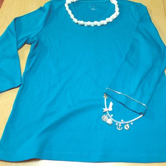 Beautiful Chico's NWOT Beautiful Teal 3/4 sleeve 100% Cotten Chico's Tops