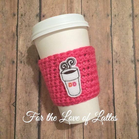 Coffee Applique Crochet Coffee Sleeve Coffee Cozy Feltie Felt Applique Dunkin Donuts Inspired Sleeve Coffee Sleeve Handmade Cup Cozy