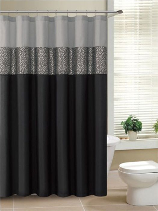 Rio™ Black And Gray Fabric Shower Curtain With Metallic Silver Accent Stripe