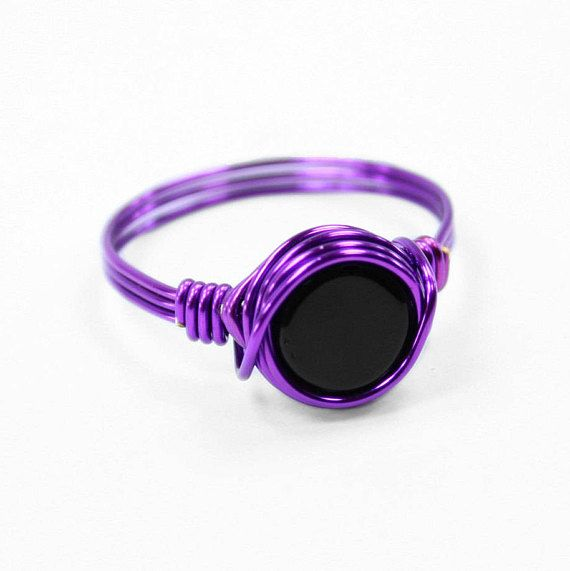 Witch Ring - Wire Wrapped Ring - Statement Ring - Purple Ring ...