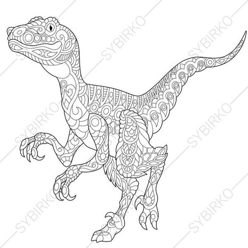 Velociraptor Dinosaur Raptor Dino Coloring Pages Animal Etsy In 2021 Dinosaur Coloring Pages Mandala Coloring Pages Coloring Pages