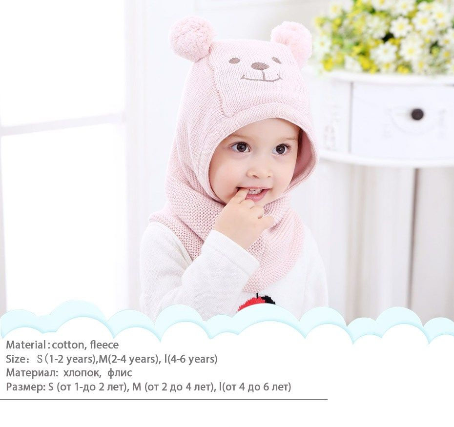 2fdeafcd Promo Winter Heat Knit Child Ladies and Boys Pompom Hat with Heat Fleece  Lining Cute Bear