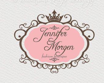 premade logo design watermark design whimsical swirl frame border logo boutique logo hand drawn frame logo wedding logo crown logo