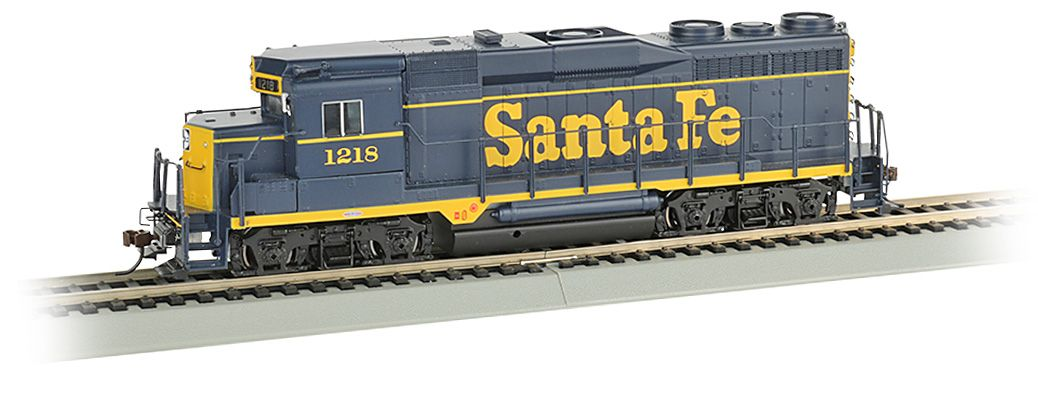 Bachmann No 67604 Ho Scale Gp30 Diesel Locomotive Sound Santa Fe Blue Yellow No 1218 Diesel Locomotive Locomotive Model Trains