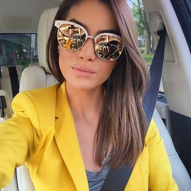 51e7102409537 Blazer amarelo mostarda Óculos Espelhado Feminino, Oculos De Sol Prada,  Oculos De Sol 2017