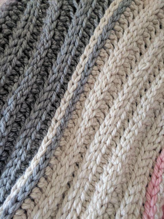 Super grueso Crochet manta patrón acanalado ganchillo por MYandGG ...