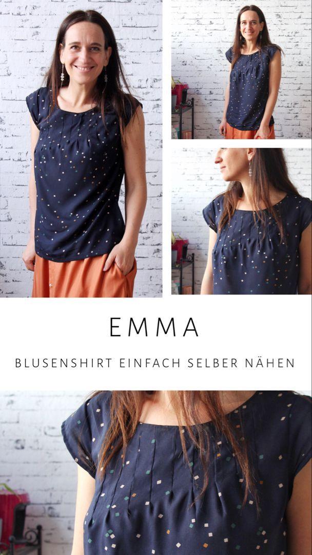 Emma - zeitloses Blusenshirt mit Falten selber nähen • FinasIdeen