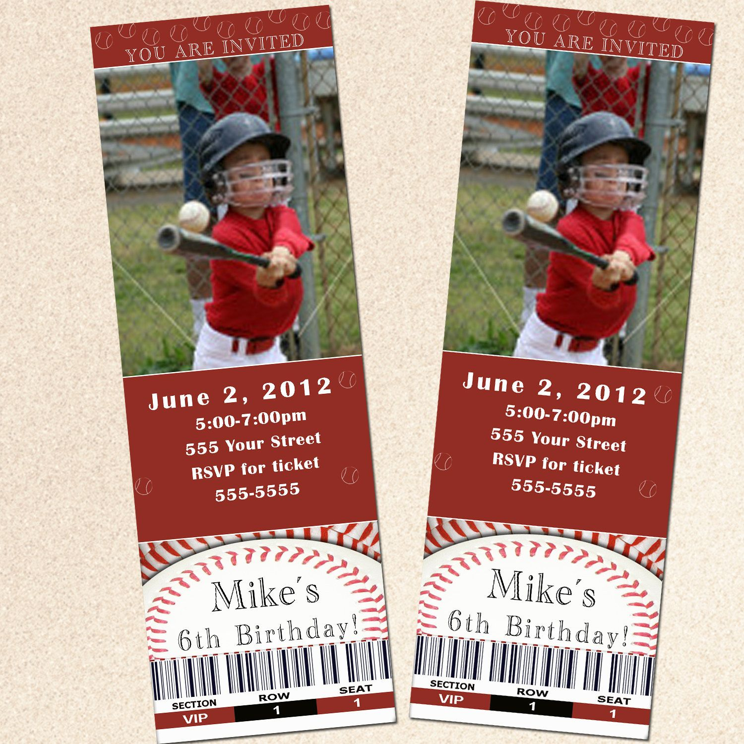Printable Personalized Baseball Photo Ticket Birthday Party Invitations