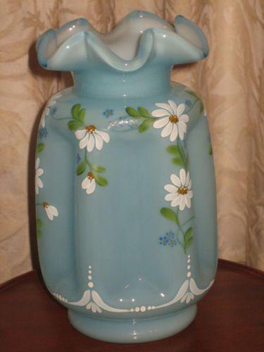 FENTON-USA-Aqua-Marine-Blue-PINCH-FORGET-ME-NOTS-Daisy-art-GL ... on