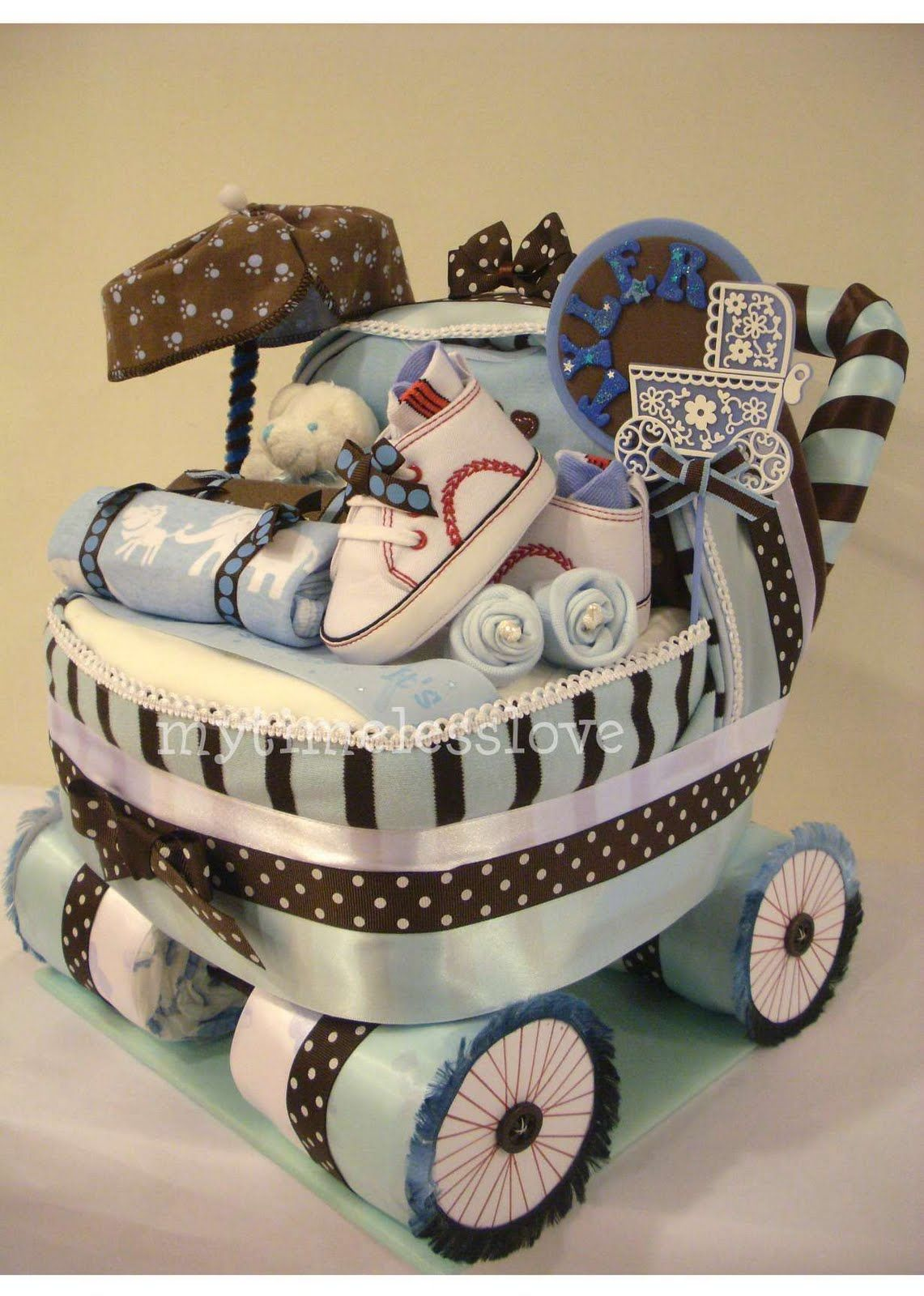 Baby shower present, nappy stroller idea | Creative baby ...