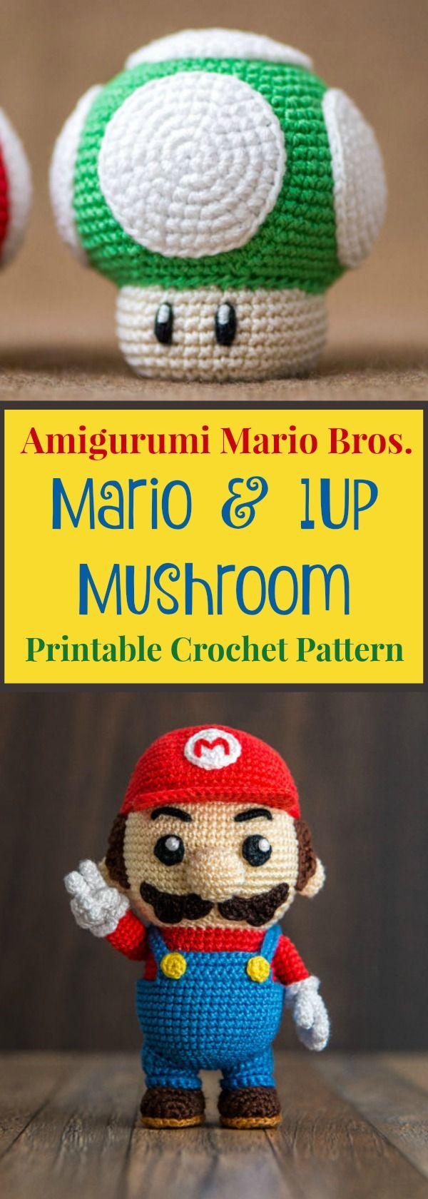 Creative Crochet: Amigurumi Mario & 1Up Mushroom Crochet Pattern ...