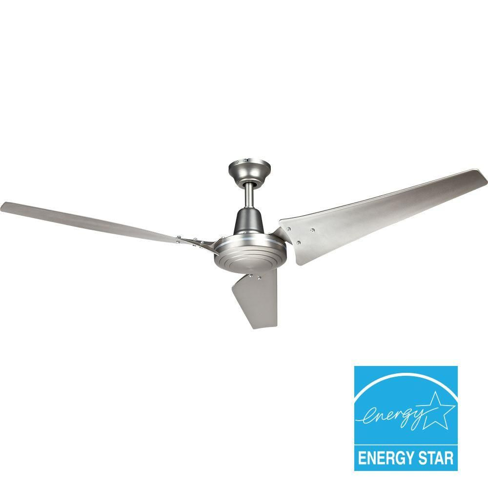 Hampton Bay Industrial 60 In Indoor Brushed Steel Ceiling Fan With Wall Control Ceiling Fan Modern Ceiling Fan Ceiling Fans Without Lights