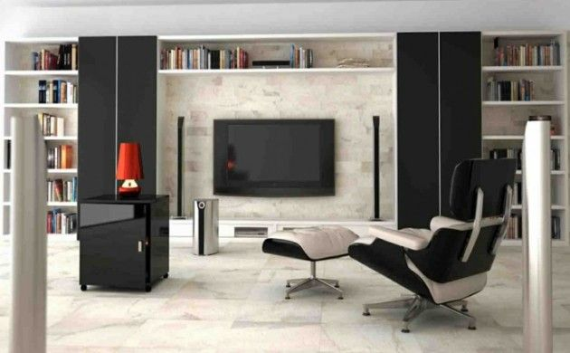 Elegant wohnzimmer fliesen wohnideen bodenbelag schwarze akzente fernseher