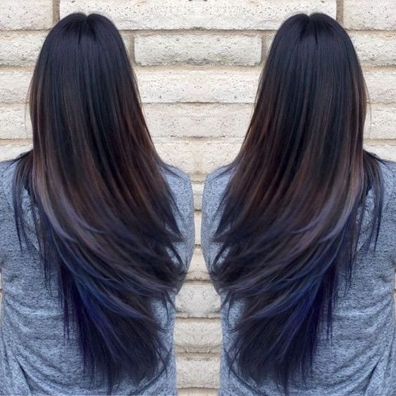 Oil Slick Blue Hair Extensions On Dark Brown Hair Blue Is The New