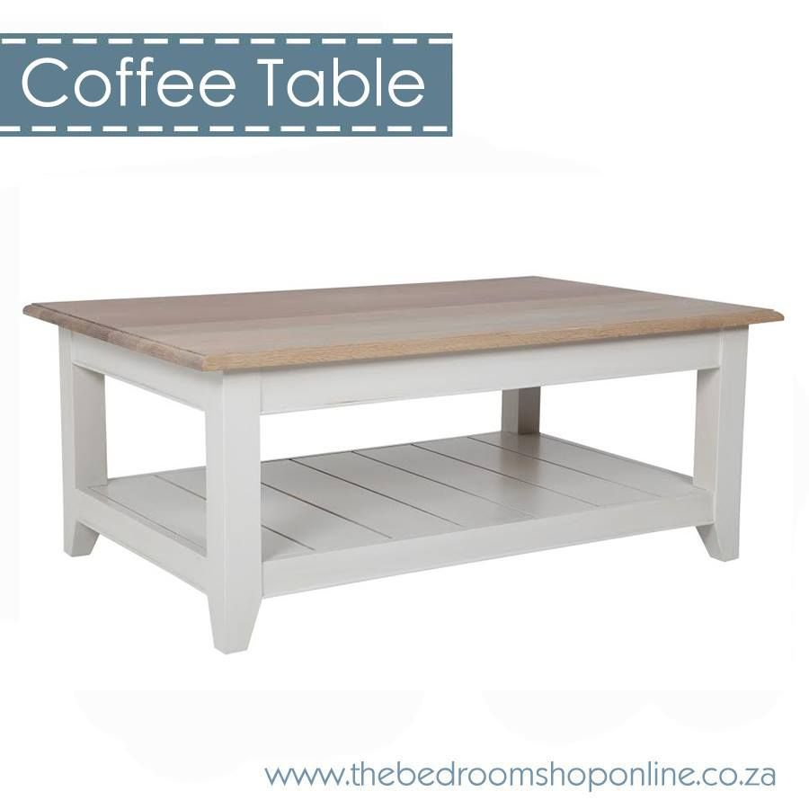 Bastille Antique White Coffee Table With Solid Smoked Oak Top