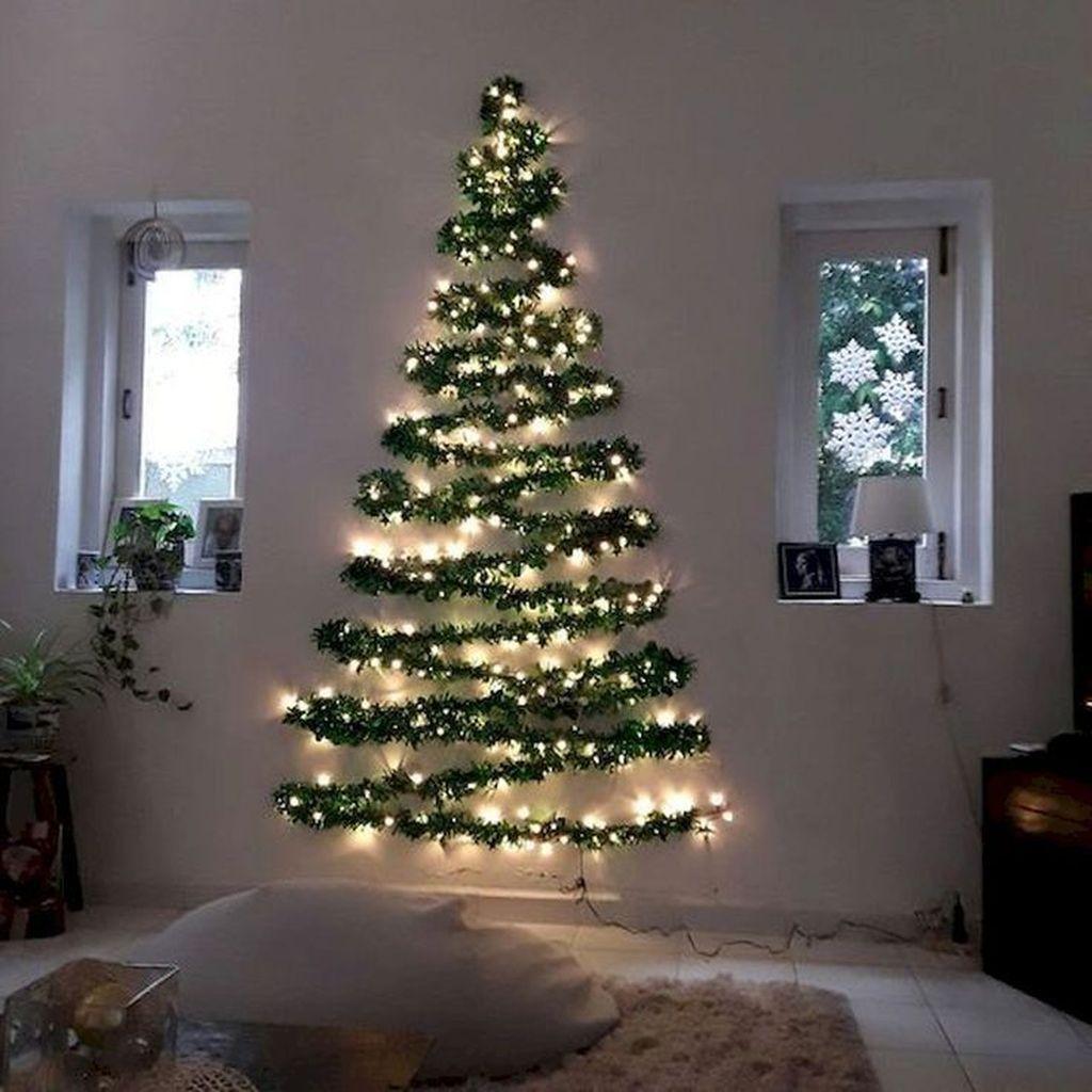 Popular Christmas Tree Design And Decor Ideas For Small Apartment Wall Christmas Tree Creative Christmas Trees Diy Christmas Wall