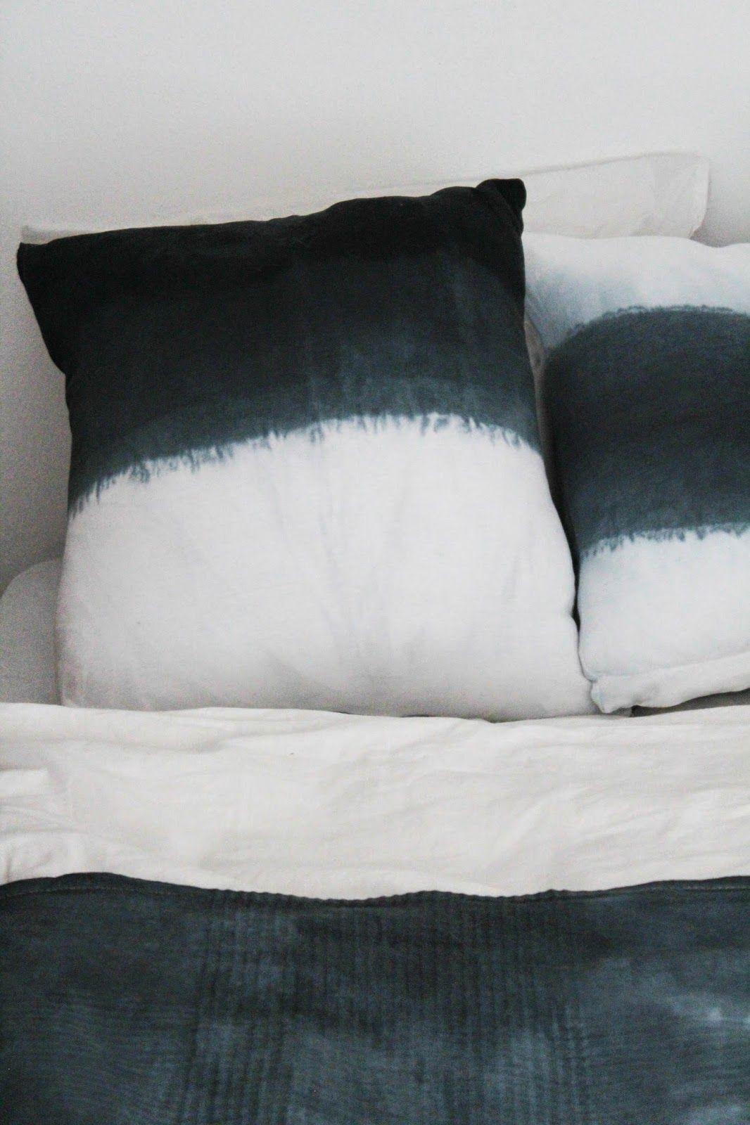 DIY: Dip Dye-Polster und Bettüberwurf. Mit grausam schlechten Fotos vom Herstellungsprozess.