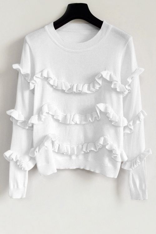 Ruffles Solid Color Sweater