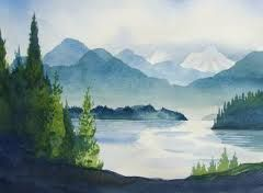 Watercolor Landscape Idea Reminds Me Of Pacific Northwest