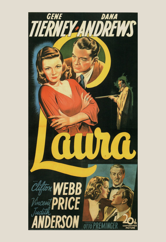CLASSIC MOVIE POSTER - Laura Movie Poster - Otto Preminger Movie Poster, Classic Film Poster, Art Film Poster, Dana Andrews