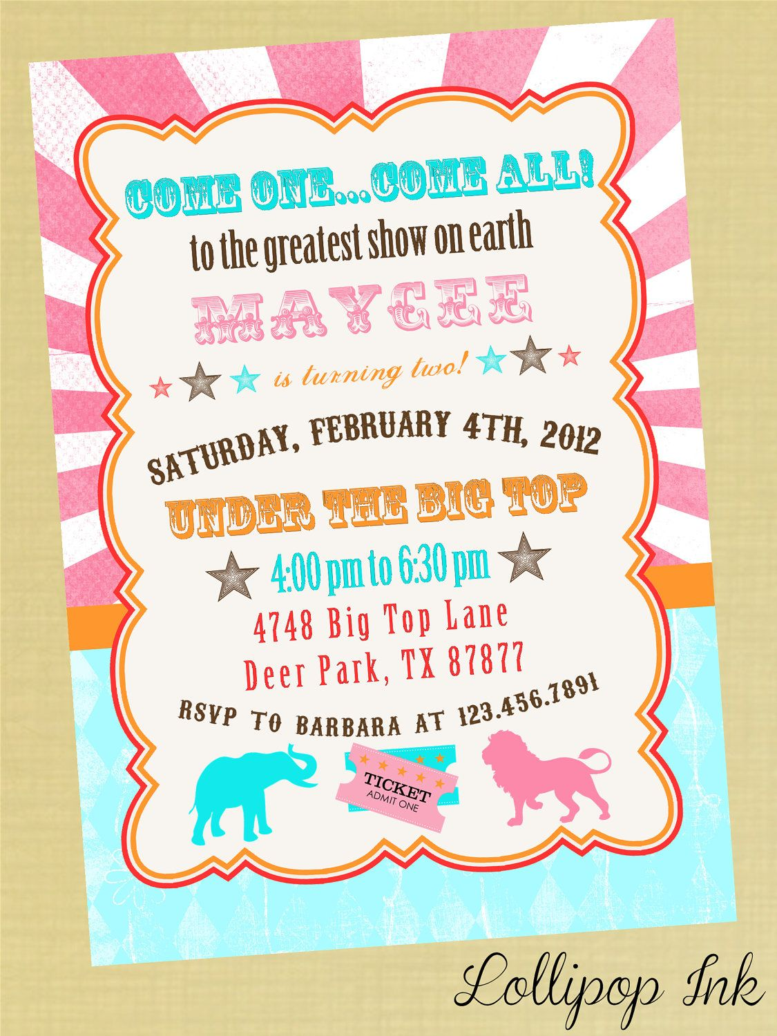 Vintage Circus Bright Birthday Invitation Pink Circus Carnival